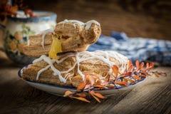 Frans gebakje met pudding royalty-vrije stock foto