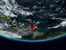 Frans-Guyana tijdens nacht stock afbeelding