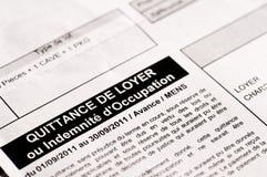 Frans huurontvangstbewijs Stock Foto's