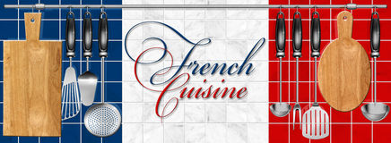 Frans keuken vastgesteld Keukengerei Royalty-vrije Stock Afbeelding