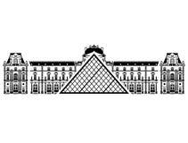 Frans Louvremuseum in zwart-witte kleur Stock Afbeeldingen