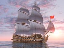 Frans Oorlogsschip stock illustratie