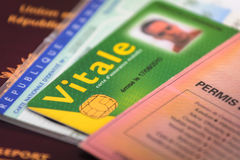 Frans van de bestuurdersvergunning en identiteit document en kaarten Stock Foto's