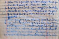 Frans Verbeterd Grammaticathuiswerk stock foto