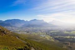 Franschhoek葡萄园风景,南非全景 免版税库存图片