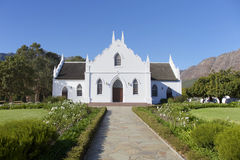 Franschhoek kyrka, Cape Town, Sydafrika Royaltyfria Foton