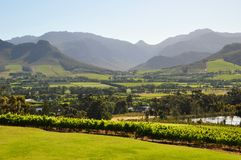 Franschhoek winelands Cape  south africa. Franschhoek winelands south africa.  cape town mountains lake wines Royalty Free Stock Image