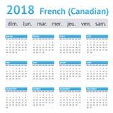 2018 Franse Amerikaanse Kalender Canadees Stock Foto
