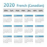 2020 Franse Amerikaanse Kalender Canadees vector illustratie