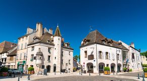 Franse architectuur in Beaune, Bourgondië royalty-vrije stock afbeelding