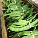 Franse bonen (slabonen) bij een landbouwersmarkt Royalty-vrije Stock Foto's