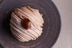 Franse cake Mont Blanc royalty-vrije stock foto