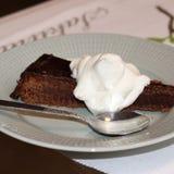 Franse chocoladecake met slagroom royalty-vrije stock foto's
