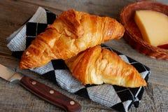Franse croissantenHalve manen Stock Afbeeldingen