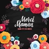 Franse de Groetkaart van de moeder` s Dag De Kalligrafietekst van Rose Floral Background en van het Krijt op Zwart Bord Stock Afbeeldingen