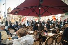 Franse demonstratie tegen de Noodtoestand van de overheid Stock Foto