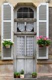 Franse deur met potten van bloemen Stock Afbeeldingen