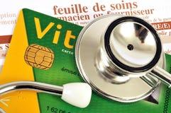 Franse dichte omhooggaand van de sociale zekerheidkaart stock foto's