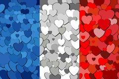 Franse die vlag van hartenachtergrond wordt gemaakt Stock Afbeeldingen