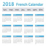 2018 Franse Europese Kalender stock illustratie