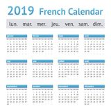 2019 Franse Europese Kalender stock illustratie