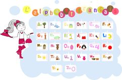Franse geïllustreerde alfabet/Lalphabet-francais Royalty-vrije Stock Foto's