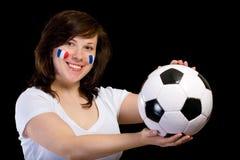 Franse geïsoleerder voetbalverdediger met bal, royalty-vrije stock foto