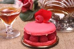 Franse gebakje en wijn Stock Foto's