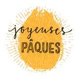Franse gelukkige Pasen-druk Royalty-vrije Stock Afbeelding
