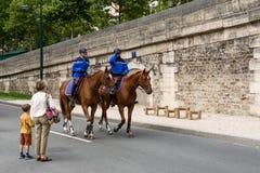 Franse gendarmerie op horseback Stock Foto