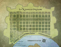 Franse het Kwartkaart van New Orleans Royalty-vrije Stock Afbeeldingen