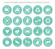 Franse het pictogram vastgestelde vector van het Voedingsetiket stock illustratie