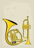 Franse hoorn, trompet en nota's Stock Afbeeldingen