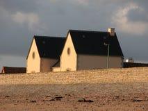 Franse Huizen op het Strand van Utah, Frankrijk stock foto