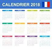 Franse Kalender voor 2018 Planner, agenda of agendamalplaatje Het begin van de week op Maandag Royalty-vrije Stock Afbeeldingen