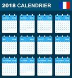 Franse Kalender voor 2018 Planner, agenda of agendamalplaatje Het begin van de week op Maandag Stock Afbeeldingen