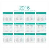 Franse Kalendervector 2016 Royalty-vrije Stock Afbeeldingen