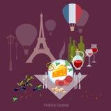Franse Keuken en cultuur het voedsel Franse wijn en kaas van Frankrijk Royalty-vrije Stock Afbeeldingen