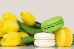 Franse Kleurrijke Macarons op een Witte Achtergrond met Bloemen Stock Afbeeldingen