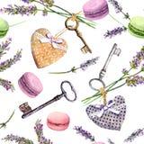 Franse landelijke achtergrond - de lavendel bloeit, makaroncakes, uitstekende sleutels, textielharten Naadloos patroon watercolor stock illustratie