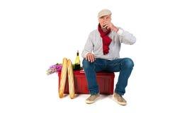 Franse mens met brood en wijn Royalty-vrije Stock Afbeelding