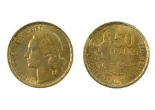 Franse munt van de 20ste eeuw 50 1953 van de frank Royalty-vrije Stock Foto's