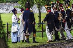 Franse napoleonic militairen en twee vrouwen Stock Afbeelding