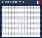 Franse Ontwerpersspatie voor 2018 Planner, agenda of agendamalplaatje Stock Fotografie