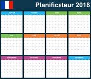 Franse Ontwerpersspatie voor 2018 Planner, agenda of agendamalplaatje Het begin van de week op Maandag Stock Fotografie