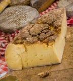 Franse oude kaas bij de openluchtmarkt. Stock Fotografie