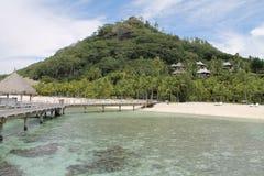 Franse polynesia, Borabora Beachview, Frankrijk, Vreedzame oceaan Stock Afbeelding