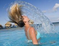 Franse Polynesia - Meisje in bikini Royalty-vrije Stock Afbeeldingen