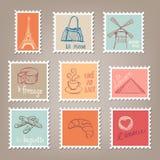 Franse Postzegels royalty-vrije illustratie