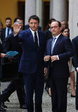 Franse President Francois Hollande en Eerste minister van Italië, Royalty-vrije Stock Foto's